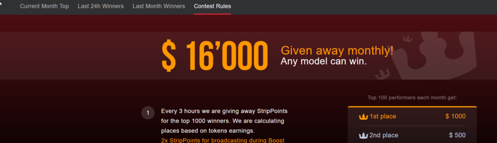Stripchat contest rules